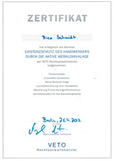 zertifikat-veto-rechtsanwaltskanzlei-2019-seminar-existenzschutz-des-handwerkers-durch-die-aktive-werklohn-klage-bild