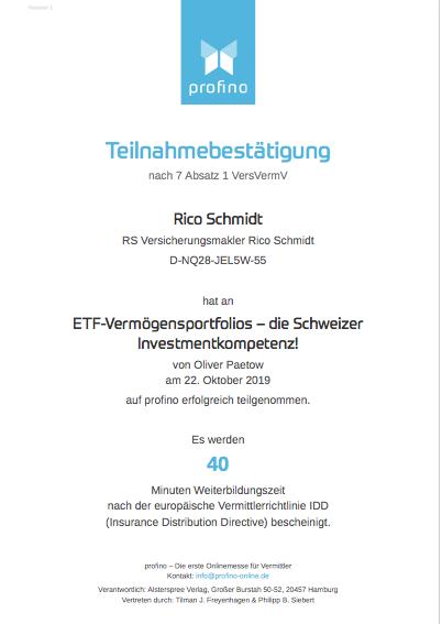 """Zertifikat """"ETF-Vermögensportfolios – die Schweizer Investmentkompetenz!"""""""